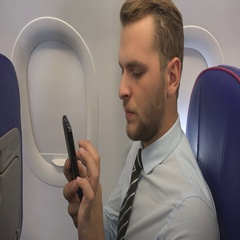 Busy Ceo Businessman Browsing Mobile Phone Working Online Airplane Cabin Travel Stock Footage