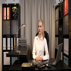 Good Looking Business Woman Talking and Look Interview Live Announcement Office Stock Footage