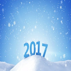 New year 2017 sign in snow drift loopable 4k (4096x2304) Stock Footage