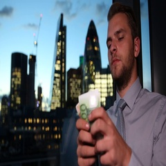 Corporate Businessperson Counting Euro Money Wages Collect London Skyline Tower Stock Footage