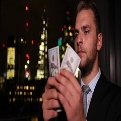 Attractive Business Man Counting Us Dollar Banknotes Cash Salary London Skyline Stock Footage