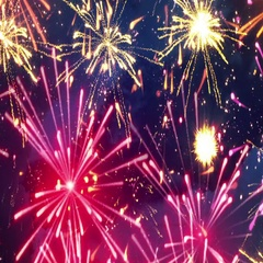 Beautiful fireworks with lots of multicolor bangs loopable Stock Footage