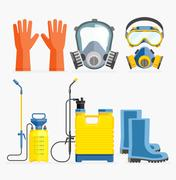 Set of pesticide tool. Gas mask and sprayer. Vector illustration flat design. Stock Illustration