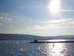 Aerial video of Sailing boats competing in the regatta at sea Stock Footage