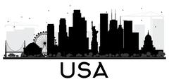 USA skyline black and white silhouette Piirros