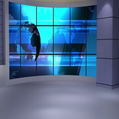News TV Studio Set 234- Virtual Green Screen Background Loop Stock Footage