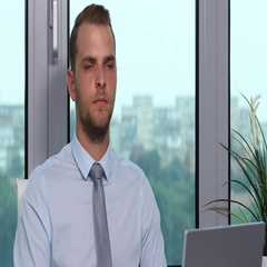 Serious Business Man Look Interview Presentation Thumb Up Sign Office Company Arkistovideo