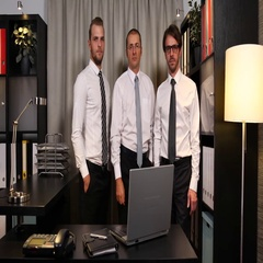 Attractive Business Men Handsome Company Team Work Look Camera Office Interior Stock Footage
