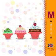 ABC. Alphabet. The letter M Sliced muffin. Fresh bakery Stock Illustration