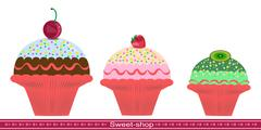 Three muffin. Illustration of sweet pastries Stock Illustration