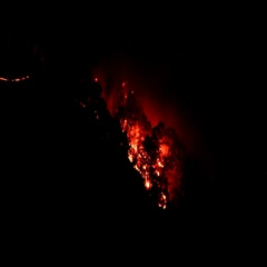 Eerie forest wildfire nighttime lake lure nc Stock Footage