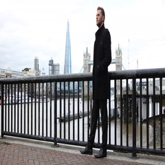 Businessman Looking Waiting Meeting Partner Tower Bridge Shard London Skyline UK Stock Footage