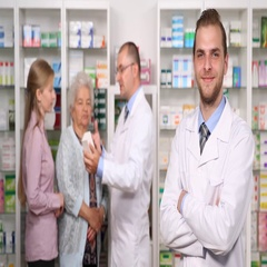 Pharmacists Group People Explaining to Women Drugs Prospect Pharmacy Activity Stock Footage