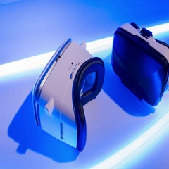 VR gaming headset. New three-dimensional virtual game technology Stock Footage
