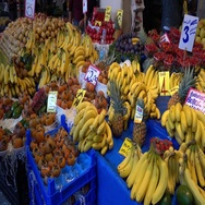 Rich assortment of fruits at the farmers market Stock Footage