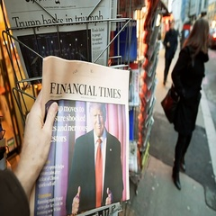 Financial Times about Donald Trump new USA president Stock Footage