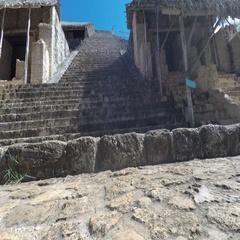 A gimbal shot moving through Ek Balam Mayn Ruins Stock Footage