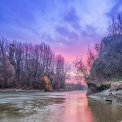 Beautiful sunset over the river. Kuban River. Russia Stock Footage