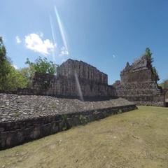 A gimbal shot of moving through Ek Balam Mayn Ruins Ball Court Stock Footage