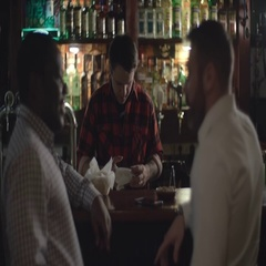 Bartender  serving beer for colleagues Stock Footage