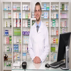 Happy Pharmacist Man Looking at Camera Smile and Saluting in Pharmaceutical Shop Stock Footage