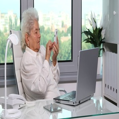 Elderly Old Woman Cellphone Texting Sending Text Message on Mobile Phone Home Arkistovideo