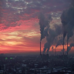 Air pollution. Power plant at sunset Stock Footage