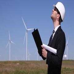 Windpower Plant Farm Businessman Holding Clipboard Writing Notes Wind Turbines Stock Footage