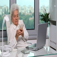 Gray Hair Senior Woman Holding Earnings and Counting Euro Bills Stack Savings Stock Footage
