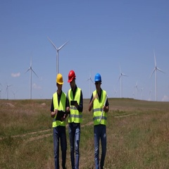 Engineer Men Team Walk and Talk About Wind Turbines Farm Plans Windpower Field Stock Footage