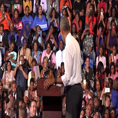 President of USA Barack Obama meet with students of Florida Memorial University. Stock Footage