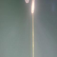 An underwater shot of mans feet walking across rope Stock Footage
