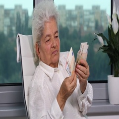 Elderly Woman Home Office Counting Money Euro Banknotes Bill Cash Retiree Income Stock Footage