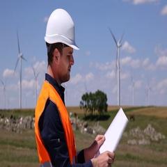 Wind Turbines Architect Worker Man Examining Blueprint Plans Environmental Field Stock Footage