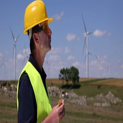 Lunch Break On Wind Turbines Field Starved Energy Technician Man Eating Sandwich Stock Footage