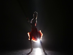 Lady dancing rumba in the studio on a dark background, smoke, silhouette Stock Footage