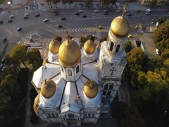The Cathedral of the Assumption in Varna, Bulgaria. Aerial view, video Stock Footage