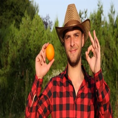 Smiling Farmer Man Showing An Orange From His Exotic Organic Garden and OK Sign Stock Footage