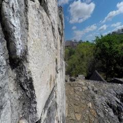 Gimbal shot moving through Ek Balam Mayn Ruins Stock Footage