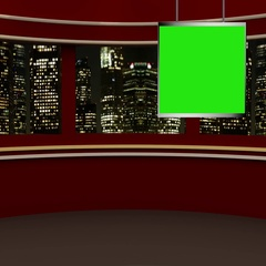 News TV Studio Set 237- Virtual Green Screen Background Loop Stock Footage