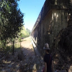 Gimbal shot of a woman tourist walking in Ek Balam Mayan Ruins Stock Footage