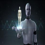 Robot, cyborg open palm, Rotating Female Human body, Blue X-ray light. Stock Footage