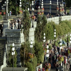 Static view of tourists in Victoria Canada Stock Footage