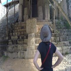 Gimbal shot of woman tourist at Ek Balam Mayn Ruins Stock Footage