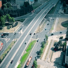 Street crossroad with lights and viaduct full of high traffic cars automobiles Stock Footage