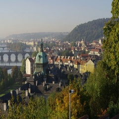 Prague Bridges View Mala Strana - 4k - Slow Motion Stock Footage