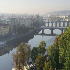 Prague Bridges View Petrin Tower - 4k - Slow Motion Stock Footage