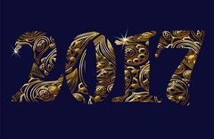 Gold glittering metal New Year numbers figures, currency signs. Floral vintage Stock Illustration