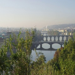 Prague Bridges View Moving Right - 4k - Slow Motion Stock Footage