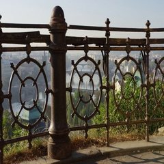Prague Bridges View Rusty Railings Flags- 4k - Slow Motion Stock Footage